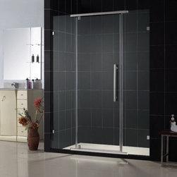"DreamLine - DreamLine SHDR-21467610-04 Vitreo Shower Door - DreamLine Vitreo 46 1/8"" Frameless Pivot Shower Door, Clear 3/8"" Glass Door, Brushed Nickel Finish"