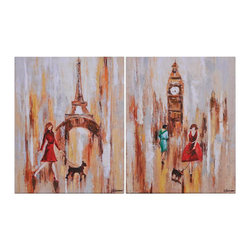 Ren-Wil - Summer Strool Rectangular Paintings - This set of 2 features a summer stroll through London and Paris this fun image is the perfect accent to any room.