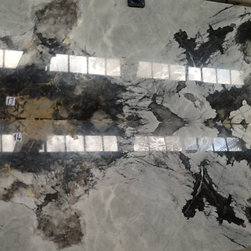 Book-matched white marble slabs -