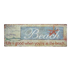 "Handcrafted Model Ships - Wooden Life is Good Beach Sign 19"" - Nautical Decor - Immerse yourself in the warm ambiance of the beach, imagining golden sands between your toes as you listen to the gentle sound of the surf, while you enjoy Handcrafted Nautical Decor's fabulous Beach Signs. Perfect for welcoming friends and family, or to advertise a festive party at your beach house, bar, or restaurant, this Wooden Life Is Good Beach Sign 19"" will brighten your life. Place this beach sign up wherever you may choose, and enjoy its wonderful style and the delightful beach atmosphere it brings."