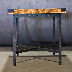 Pub Table - This beautiful pub table has an industrial look that meshes well with so many different styles.  Made from high quality metal and old reclaimed barn wood. Edges have been hand torched.  The metal has been powder coated with a clear finish which enhances the beauty and uniqueness of the metal.  This is truly a one of a kind beautiful table!