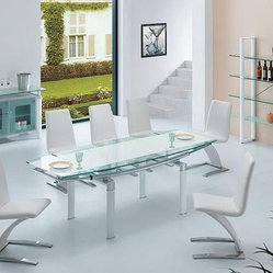 Extendable Frosted Glass Top Designer Modern Dining Room with Leaf