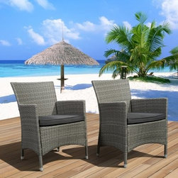 Liberty All-Weather Wicker Deluxe Patio Dining Chair - Set of 2 - You know that we've come a long way as a culture when you can stand up from an outdoor meal and you don't have stripey chair-marks or splinters on the back of your thighs, and we're pretty sure we have the Liberty All-Weather Wicker Deluxe Patio Dining Chair - Set of 2 to thank. This dashing duo of outdoor furniture gives you a roomy seat and high, curved back that's flanked by arms that show off that contemporary style. A frame of lightweight, rust-proof aluminum provides the shape, while the exterior is provided by durable resin wicker, a material with the visual qualities of wicker but a durability of modern synthetic polymers. All this comes together with a square-bound cushion to make sure that you feel just as good as you look while you hang out in this contemporary chair.