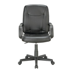 """Modway - Modway EEI-717 Turbo Mid Back Office Chair in Black - Turn up the volume with the charged and ready Turbo Mid Back Office Chair. Set to task with this function driven padded chair that matches up """"wheel to wheel"""" with the more expensive alternatives. Turbo also come with lumbar support, pneumatic height adjustment, a black nylon base, dual wheel carpet casters and a full 360 degree swivel."""