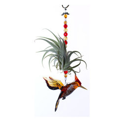 "Spirit Pieces - Lampwork Woodpecker Ornament - This beautiful European lampwork glass Woodpecker ornament is the perfect house gift for all ages! Comes adorned with Precosia crystal beading and a Crystal Angel . Ten inches high, the woodpecker itself is 4.0"" in length and 4.0"" high."