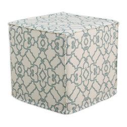 "Chooty - Chooty Windsor Capri Blue Collection 17"" Square Seamed Foam Ottoman - Insert 100 High Density Foam, Fabric Content 100 Cotton, Color Aqua, White , Hassock 1"