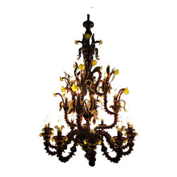 Royal Crystal Lighting - Royal Crystal Lighting Murano Glass Chandelier 21 Lights - Enchanting, beautiful, hand made Murano Glass chandelier. For foryer or living room, 6 foot drop down. Standard light is Maroon with gold color floral ornament. Color Variation from  clear, solid black or solid white, or solid red.  Products are made-to-order.