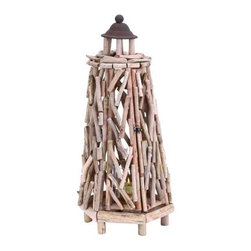 "Wood Glass Driftwood Lantern 69365 - Wood Glass Driftwood Lantern features pieces of driftwood put together in lighthouse shape. Metal top with hinged door to reveal glass votive holder. 28"" H x 12"" W"