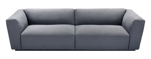 "Verzelloni - Elliot Sofa - Designed to offer maximum comfort, Elliot joins the idea of ""great comfort"" on an ergonomic and visual level. The use of soft down in the armrests, backrests, and seat cushions offer a soft and sturdy comfort which contrasts with the compact upholstery and crisp-lined exterior.  Armrests, backrests and seat cushions are independent parts fixed on the metal framework which allows easy modular customization and simple slipcover removal."