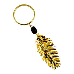 Redwood Needle Wine Charm in 24-karat Gold - Adorn your napkins or Napa wines with this charming charm. It's crafted from a real redwood needle, coated in your choice of either 24-karat gold or iridescent finishes, and features a glass bead and brass ring big enough to fit over a wine bottle.