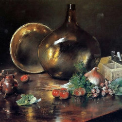"""William Merritt Chase Still Life - Brass and Glass - 18"""" x 24"""" Premium Archival - 18"""" x 24"""" William Merritt Chase Still Life - Brass and Glass premium archival print reproduced to meet museum quality standards. Our museum quality archival prints are produced using high-precision print technology for a more accurate reproduction printed on high quality, heavyweight matte presentation paper with fade-resistant, archival inks. Our progressive business model allows us to offer works of art to you at the best wholesale pricing, significantly less than art gallery prices, affordable to all. This line of artwork is produced with extra white border space (if you choose to have it framed, for your framer to work with to frame properly or utilize a larger mat and/or frame).  We present a comprehensive collection of exceptional art reproductions byWilliam Merritt Chase."""