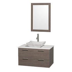 Wyndham Collection - Wyndham Collection 'Amare' 36-inch Grey Oak/ White Top/ Carrera Sink Vanity Set - Modern lines and a truly elegant design aesthetic define this Amare single vanity set from the Wyndham Collection. A white Carrera marble basin sink sits atop artificial stone then combines with grey oak-finished wood to complete this bathroom decor.