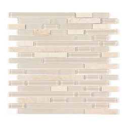 Stone & Co - All Marble Mosaic Glass and Stone blend Random Strip 12 x 12 Mosaic Tile Mag-444 - All Marble Mosaic Glass and Stone blend Random Strip 12 x 12 Mosaic Tile Mag-4440-ST