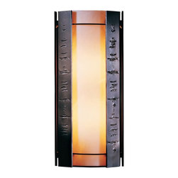 "Hubbardton Forge - Asian Hubbardton Forge Textured Panels 18"" High Outdoor Wall Light - A soothing simplicity pervades this attractive design. The vertical textured panels add bite and personality to the design. All Hubbardton Forge outdoor fixtures are made of durable rust-free aluminum and must pass rigorous salt spray tests to replicate extreme weather conditions and UV exposures. Opaque dark smoke finish. White art glass. Suitable for wet locations. Takes two 60 watt bulbs (not included). 18"" high. 8"" wide. Extends 5"" from the wall.  Opaque dark smoke finish.  White art glass.  Suitable for wet locations.  Made in USA.  Takes two 60 watt bulbs (not included).  18"" high.  8"" wide.  Extends 5"" from the wall."