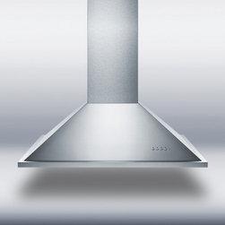 "Summit - SEIH1536CV3 36"" 600 CFM Island Range Hood With Adjustable Chimney Height  Alumin - SUMMIT39s series of island range hoods are made in Spain with quality construction and stunning style"
