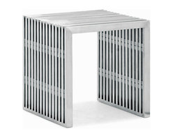 Zuo Modern - novel single seat/side table - Reminiscent of mid-century design, this collection is fabricated from 304 grade stainless steel and is safe to use outside.