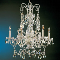 Crystorama - Crystorama Traditional Crystal 1 Tier Chandelier in Polished Brass - Shown in picture: Crystal chandelier with Clear Swarovski Spectra crystal; Traditional crystal chandeliers are classic - timeless - and elegant. Crystorama�s opulent glass arm chandeliers are nothing short of spectacular. This collection is offered in a variety of crystal grades to fit any budget.
