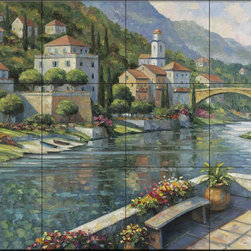 The Tile Mural Store (USA) - Tile Mural - Italian Vista - Jz - Kitchen Backsplash Ideas - This beautiful artwork by John Zaccheo has been digitally reproduced for tiles and depicts a look at the canal from this veranda.  Waterview tile murals are great as part of your kitchen backsplash tile project or your tub and shower surround bathroom tile project. Water view images on tiles such as tiles with beach scenes and Mediterranean scenes on tiles Tuscan tile scenes add a unique element to your tiling project and are a great kitchen backsplash idea. Use one or two of our landscape tile murals for a wall tile project in any room in your home for your wall tile project.