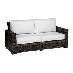 5 Piece Montecito Outdoor Loveseat Sofa Set - Make your patio or backyard your household's favorite place to relax with the addition of the 5 Pc. Montecito Loveseat Sofa Set by Sunset West (2501-235Pc). Featuring 2 club chairs to go along with a loveseat, the set seats up to 4 adults very comfortably. The Sunbrella brand cushions provide not only deep seating comfort, but also unmatched lifespan and protection against the elements. The comfort of the Montecito collection is matched by its style, as the extra wide, half round wicker features a cognac finish that provides a bold and unique look that will stand out on your patio. The wicker is also made to last as it is made from high-density polyethylene (HDPE) that is resistant to splitting and fading.