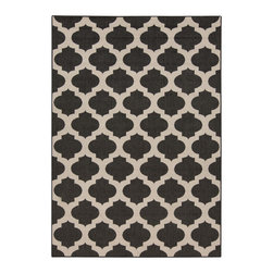 Tile Patterned Indoor-Outdoor Rug - Trend alert! Moroccan tile patterns are still burning up, but this one keeps its cool with a soft, deep gray tone that makes way to blend with your favorite pieces. Plus, this rug is sturdy enough to work outside as well as in, so you can rock your great style wherever your home needs some.