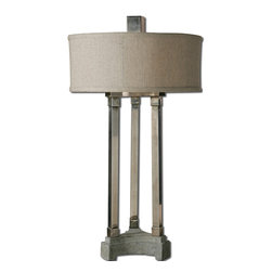 Uttermost - Risto Metal Table Lamp - Lightly Antiqued Brushed Aluminum With A Concrete Base. The Round Hardback Drum Shade Is An Oatmeal Linen Fabric With Natural Slubbing. Number Of Lights: 2, Shade: Round Hardback Drum Shade, Shade Size: Height: 7, Top: 17w X 17d, Bottom: 17w X 17d, Voltage: 110, Wattage: 60w, Bulbs Included: No