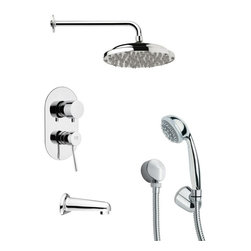 Remer - Chrome Tub and Shower Faucet with Handheld Shower - Multi function tub and shower faucet.