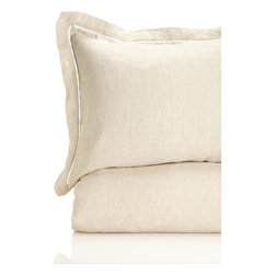 Melange Home - Linen Duvet Cover and Shams Set, Natural - Details: