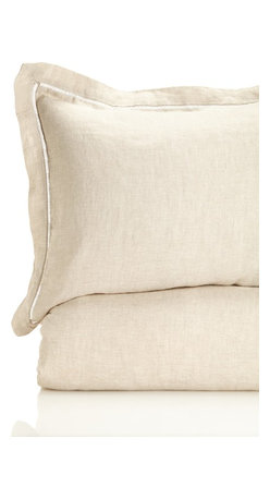Melange Home - 100% Linen Duvet Cover / Sham, Natural, Std Sham (Pair) - Details: