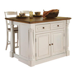 HomeStyles - Kitchen Island with 2 Stools - Profiled edges. Framed side and back panels. Two storage drawers. Storage cabinet with four adjustable shelves. Hidden sliding mechanism. Connected to back two shaped and turned posts. Easy to move. Made from Asian hardwoods and veneers. Antiqued white finish. Seat height: 24 in.. Stool: 17.5 in. W x 21.5 in. D x 41 in. H. Without drop-leaf: 48 in. W x 25 in. D x 36 in. H. With drop-leaf: 48 in. W x 40.5 in. D x 36 in. H. Stool-Assembly Instructions. Island-Assembly InstructionsThe Monarch Kitchen Island blends upscale design with state-of-the-art functionality. Breakfast bar closed or in use, this piece has a polished look by being consistently styled on both the approach and working sides. The Monarch Stool perfectly matches the Antiqued White Monarch Kitchen Island.