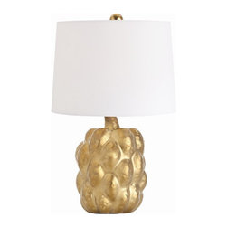 Arteriors Home - Arteriors Home Verner Matte Gold Porcelain Accent Lamp - Arteriors Home 17931-70 - Arteriors Home 17931-700 - Matte gold glaze on a sculptural shaped porcelain makes this jewelry for the home. The white microfiber shade is lined n a sheer gold fabric. Comes with a porcelain finial to match.