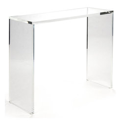 Kathy Kuo Home - Clery Clear Acrylic Large Console - Turn your living or dining room into an art gallery with this ultra-modern piece. Crafted from crystal clear acrylic, this large console is beautifully simple and will play backdrop to whatever treasures you choose to display on it. Picture this console in your Hollywood regency style home with a bouquet of fuchsia peonies atop it.
