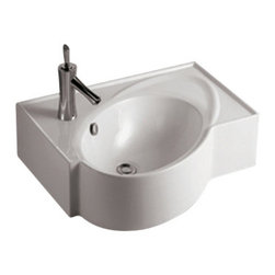 Whitehaus Collection - Whitehaus WHKN1129 Modern White Ceramic Rectangular Bathroom Sink Basin - Whitehaus Collection bathroom sinks are modern sleek and stylish. A great option for anyone that wants a unique and eye catching bathroom design!