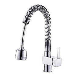 Kitchen Sink Faucets - Solid Brass Single Handle Spring Pull Down Kitchen Faucet - Chrome Finish-- FaucetSuperDeal.com