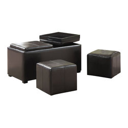 Simpli Home - Avalon 3 Piece Rectangular Brown Faux Leather Storage Ottoman with 2 Serving Tra - Great things come in small packages.  For an amazing solution to your storage, seating and serving needs, look no further than the Avalon Rectangular Storage Ottoman Bench.  The unit  is made from durable Brown Faux Leather and comes with two flip over serving trays, two small seating ottomans and one large storage ottoman with lots of storage space.  This attractive ottoman is extra strong and durable and features a beautiful stiched leather exterior and large storage interior.  Whether you use this ottoman in your entryway, living room, family room, basement or bedroom, it will allow you to hide away all that mess, eat your food and have extra seating.