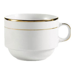 CAC China - Golden Royal 8 oz White Stacking Cups with Gold Trim - Case of 36 - DescriptionsC.A.C China provides durable dinnerware at all levelsincluding super white porcelain fine bone china American white chinacolored glaze china and Asian style china. C.A.C China offers a variety of innovative shapes from square rectangular triangular wavy to round that will brighten up any tables for modern trendy restaurants hotels resorts clubs caterers cruises etc. All C.A.C China products are oven microwave and dishwasher safe.