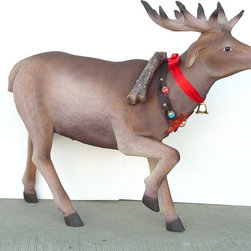 "Reindeer with Decorative Belt Statue Christmas Decor, 45""H -"