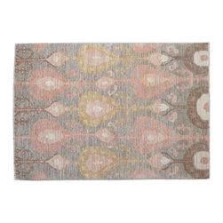 1800-Get-A-Rug - Oriental Rug Taupe Ikat Uzbek Design Hand Knotted Rug Sh11789 - About Wool Pile
