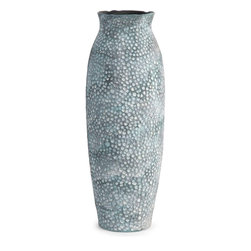 "Imax Worldwide Home - Ludvic Large Ceramic Vase - A crisp blue matte finish and hammered appearance of the small Ludvic vase adds a color and subtle edge to any home.; Materials: 95% Ceramic, 5% Glaze; Country of Origin: China; Weight: 0.5 lbs; Dimensions: 20""H x 6.75""W x 6.75"""