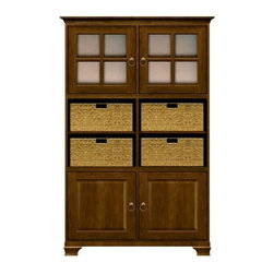 Howard Miller Custom - Ava Cabinet w 6 Shelves in Saratoga Cherry - This cabinet is finished in Saratoga Cherry on select Hardwoods and Veneers, with Antique Brass hardware. 2 beveled panel doors. 6 adjustable interior shelves and 4 large woven baskets. 2 doors with plain Glass and cross panes. Cove profile top and Ogee profile base. Hardware: Antique Brass ring pulls on doors. Features soft-close doors and metal shelf clips. Simple assembly required. 50 1/4 in. W x 17 in. D x 78 1/2 in. H