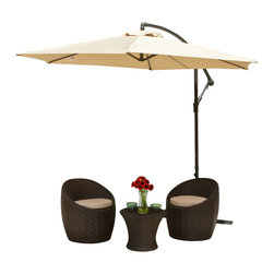 Great Deal Furniture - Acosta Outdoor Cantilever Patio Umbrella, Mocha - The Acosta Sun Canopy Umbrella makes a perfect shade solution for you and your guests. Function and form go hand in hand with this durable piece, designed to give you all of the benefits of being outdoors at no cost to comfort. This canopy pivots easily to provide shade from any angle whether it be for your lounging or dining. A must have piece for those summer gatherings.