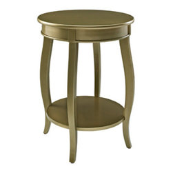 Powell - Powell Gold Round Table with Shelf - The contemporary Gold Round Table with Shelf is a convenient accent for any room of your home.  A round lower shelf offers a convenient option for storing magazines, coasters or your favorite books. Made of select hardwoods and solid wood materials, the contemporary styling of this table has a bentwood skirt and four saber cabriole tapered legs.  Some assembly required.
