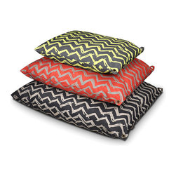 Frontgate - Outdoor Chevron Pet Bed Dog Bed - Outdoor pet bed is ideal for outdoor living spaces like patios, decks, and gardens. Fabric is waterproof and UV resistant to resist mold and fading. Eco-friendly PlanetFill™ fiber is made of 100% recyclable materials and provides hours of plush comfort. Removable covers and inserts to machine wash and tumble dry. This Chevron-patterned pet bed keeps dogs and cats comfy while adding a splash of modern design to outdoor living spaces. It features waterproof and UV resistant fabric that repels mold and discoloration for long lasting use. Ideal pet bed for patios, decks, gazebos, and gardens so pets relax comfortably when outside.  .  . Eco-friendly PlanetFill fiber is made of 100% recyclable materials and provides hours of plush comfort .  . Imported.