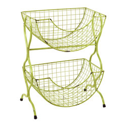 "Traders and Company - Faux Distressed Metal Lime Green 2-Tier Fruit/Vegetable Bin, 15""Lx9.75""Wx19.5""H - Brightly colored & whimsically faux distressed metalware inspired by 1950's designs. Hand-applied finish with an antiqued retro look. Alternate shapes & styles sold separately. Dimensions : 15""Lx9.75""Wx19.5""H"