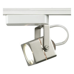 """WAC - WAC Cube Steel Track Head for Lightolier Track Systems - WAC low voltage halogen track lamp (not included) with improved beam spread control. May be used on WAC 2-circuit and other compatible two-circuit track with the use of the J-clip. Brushed steel finish. Made by WAC for use with Lightolier track lighting systems. Takes one MR16 50 watt max light bulb (not included). 6"""" high. 3 1/8"""" wide. 2 3/8"""" deep.  Brushed steel finish.  White finish track head.  Improved beam spread control.   Made by WAC for use with Lightolier track lighting systems.  For WAC 2-circuit and other compatible two-circuit track.   Takes one MR16 50 watt max light bulb (not included).   6"""" high.   3 1/8"""" wide.   2 3/8"""" deep."""