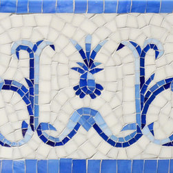 """Delft - Pineapple People - Pineapple People, a hand nipped jewel glass 8 1/4"""" mosaic border shown in, Lapis Lazuli, Iolite and Covelite with an Absolute White background with a sea glass finish, is part of the Delft Collection by Sara Baldwin for New Ravenna Mosaics."""