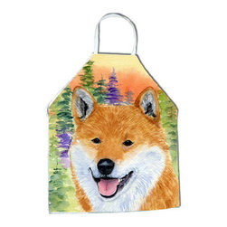 Caroline's Treasures - Shiba Inu Apron SS8234APRON - Apron, Bib Style, 27 in H x 31 in W; 100 percent  Ultra Spun Poly, White, braided nylon tie straps, sewn cloth neckband. These bib style aprons are not just for cooking - they are also great for cleaning, gardening, art projects, and other activities, too!
