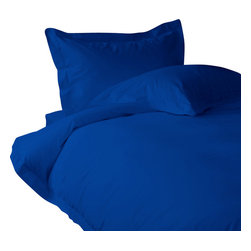 """300 TC Sheet Set 15"""" Deep Pocket with Duvet Set Solid Egyptian Blue, Twin - You are buying 1 Flat Sheet (66 x 96 inches), 1 Fitted Sheet (39 x 80 inches), 1 Duvet Cover (68 x 90 inches) and 4 Standard Size Pillowcases (20 x 30 inches) only."""