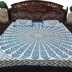 3pc Set White Blue Mandala Print indian Bedding Cotton Bedsheets - Enhance your bedroom by adding this lively hues of white and blue color bed cover set from India.