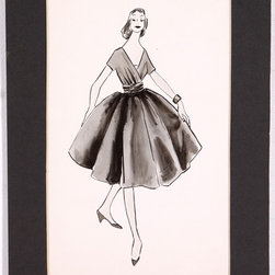 "Fashion Sketch of Black Dress - A fashionable young woman steps out wearing a lovely black dress in this striking ink drawing from the mid-20th century. Signed ""E. Wright"" on verso for Evann Wright, an American artist. Unframed, displayed in charcoal mat. Image, 6.75""L x 11.5""H."