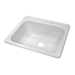 "Lyons Industries - Kitchen Sink, 25""L x 22""W Single Bowl Acrylic 9"" Deep, Four Faucet Holes, White - Lyons Industries Single Bowl white acrylic kitchen sink 9"" deep with four faucet holes. This standard self rimming 25"" x 22"" sink is easy to install as a remodel or new construction project. This sturdy sink has durable easy to clean high gloss acrylic construction with a fiberglass reinforced insulation backer. This sink is quiet and provides a superior heat retention than other sink materials meaning your dish water stays warm longer. Lyons sinks come with a simple mounting tab and clip system to firmly fasten the sink to the countertop and reinforced drain areas for safely supporting a garbage disposal. Detailed installation instructions include the cut-out specifications. Lyons sinks are proudly Made in America by experienced artisans supporting our economy."